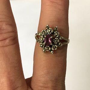 Vintage 925 Amethyst & Marcasite Ring